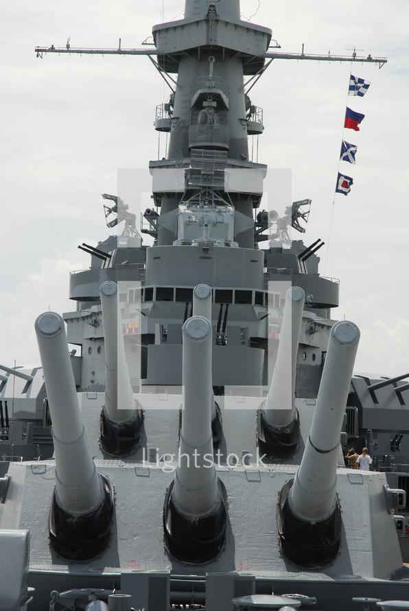 guns on a battleship