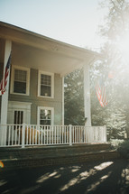 American flags on a house