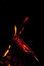 flames on burning wood