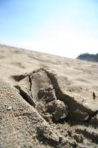 cracks in sand