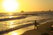 Waves crashing at sunset