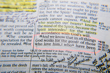 And he who searches our hearts knows the mind of the spirit, because the spirit intercedes for the saints in accordance to God's will,