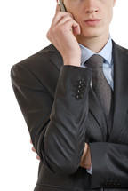 Businessman talking on a cell phone.