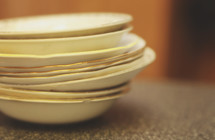 a stack of old dishes