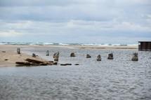 Sandy beach and ocean.