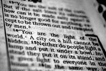 Open BIble in Matthew 5:14