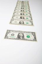 Series of one dollar bills.