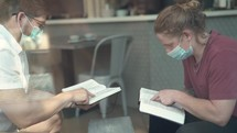 Men's Bible study with face masks during Covid-19