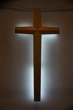 Backlit cross, symbol of Christianity