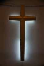 Backlit cross, symbol of Christianity