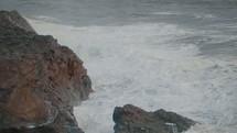 sea cliffs and churning sea