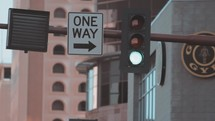 one way street and changing stop light