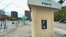 phone booth at a harbor