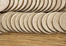 a row of quarters
