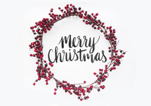 berry Christmas wreath with Merry Christmas