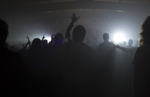 silhouette of raised hands of an audience at a concert