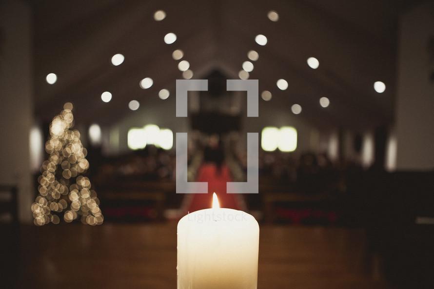 Burning candle at wedding ceremony