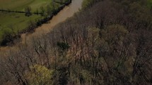 aerial view over a rural river
