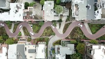 aerial view over a curvy road