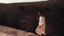 Jesus walking through the desert