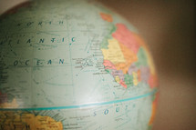 Atlantic Ocean on a globe - world