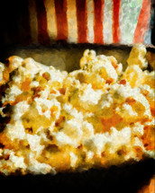 Painted image of freshly popped popcorn with refreshing beverage in the background.