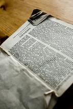 Open Bible in book of Genesis