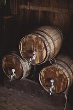Aged wine barrels