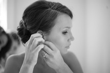 Bride getting ready on her wedding day.
