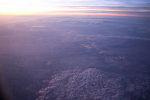 Aerial view of plain at dusk.