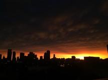 sunset and city skyline
