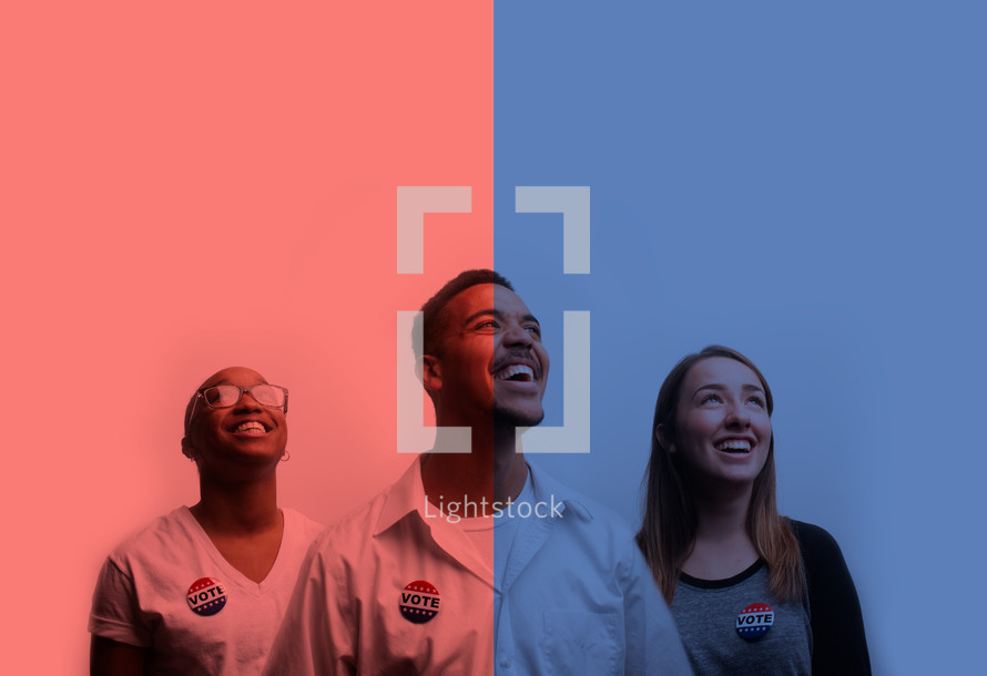 young man and woman and vote election day buttons