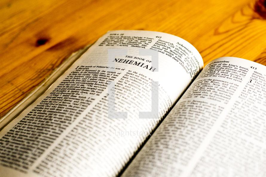 Open Bible in book of Nehemiah