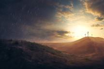 three crosses on a hilltop, Calvary