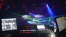 strobe lights and sound production equipment