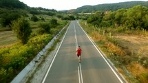 a man running on a road