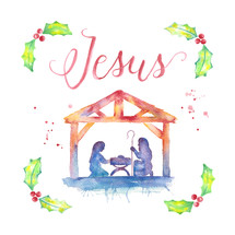 Christmas nativity with Jesus hand lettering, Mary, Joseph, manger and water color holly, and splatters.