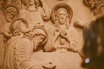 Statue of Jesus in a Roman Catholic church with the Eucharist at the last supper