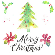 Merry Christmas hand lettering and water color holiday pack with holly, poinsettias, flowers, Christmas tree with ornaments, brush texture, and splatters.