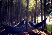Hammocks hanging in trees outside.