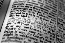 Open Bible in 2 Corinthians 12:9