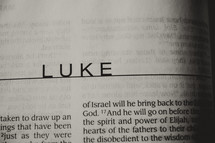 Open Bible in the book of Luke