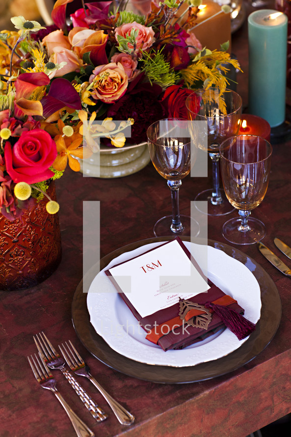 Fancy place setting fall table design florals