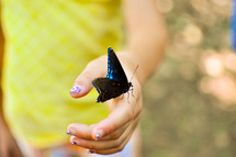 a butterfly landing on a woman's hand