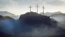 three crosses on a mount