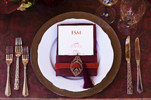 Place setting fall table design event wedding