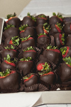 A box of chocolate covered strawberries
