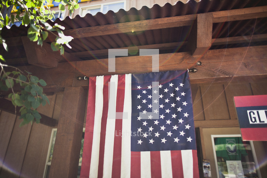 American flag hanging on storefront