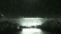 falling rain at night