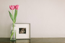A vase with pink tulips next to a framed photo.